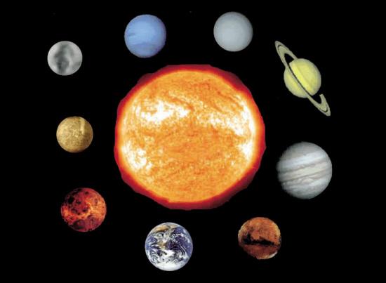 太阳系九大行星示意图 太阳系九大行星 太阳系九大行星排列图图片